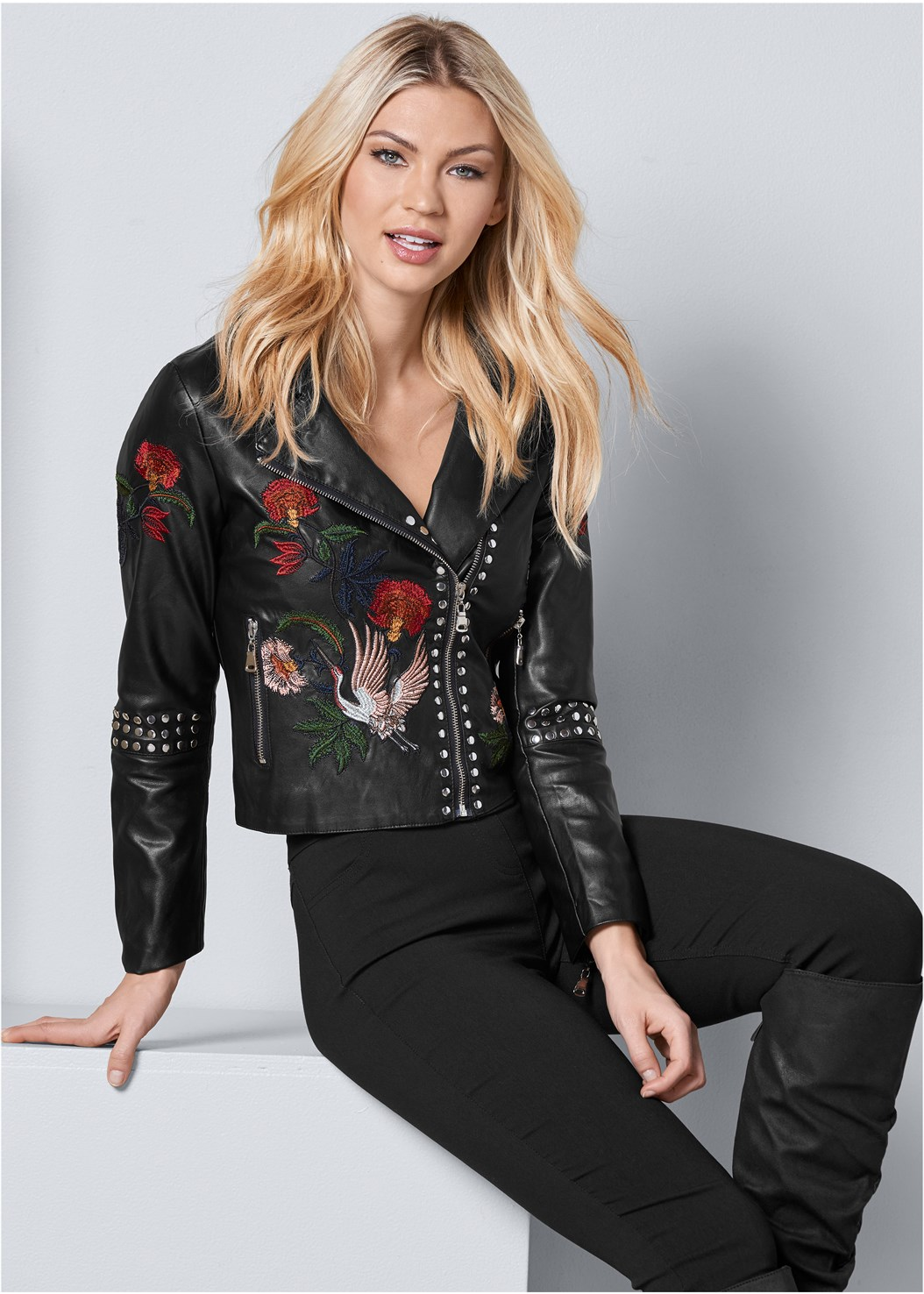 Moto Faux Leather Jacket,Mid Rise Full Length Slimming Stretch Jeggings,Western Style Booties,Stud Detail Crossbody