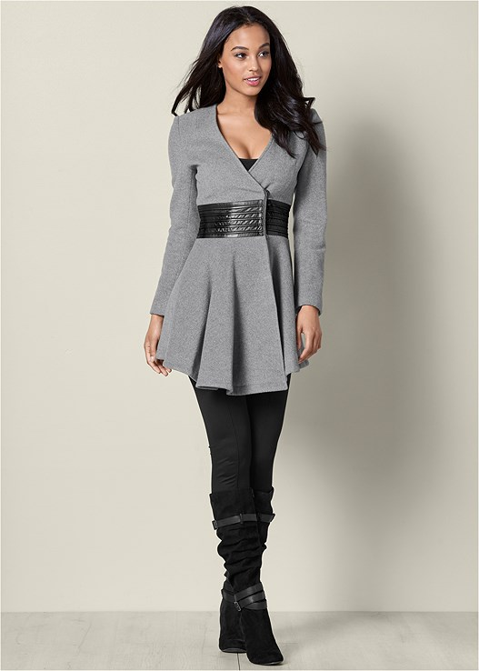 FAUX LEATHER DETAIL JACKET,SEAMLESS CAMI,SLOUCHY LAYERED STRAP BOOTS
