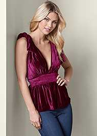 Front View Pleated Velvet Top