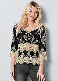 Front View Embroidered Detail Top