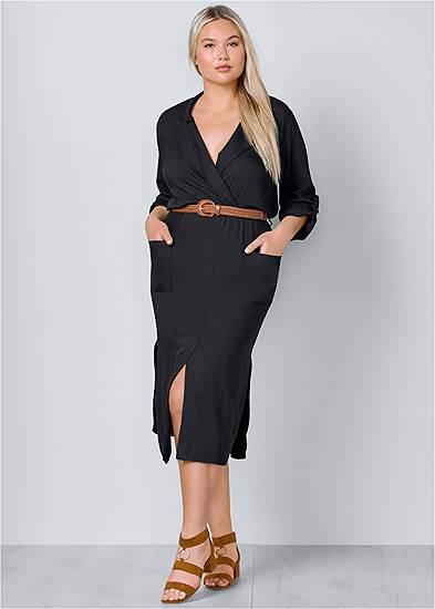 Plus Size Belted Midi Shirt Dress