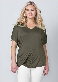plus size draped v-neck top