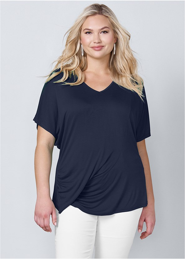 Draped V-Neck Top,Mid Rise Color Skinny Jeans