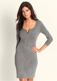 Front View Embellished Sweater Dress