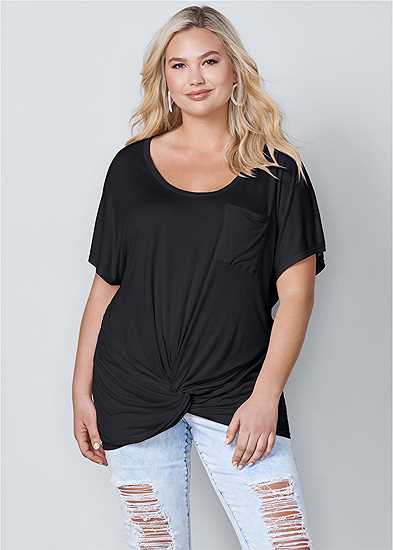 Plus Size Twisted Knot Detail Tee