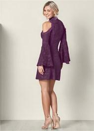 Back View Cold Shoulder Lace Dress