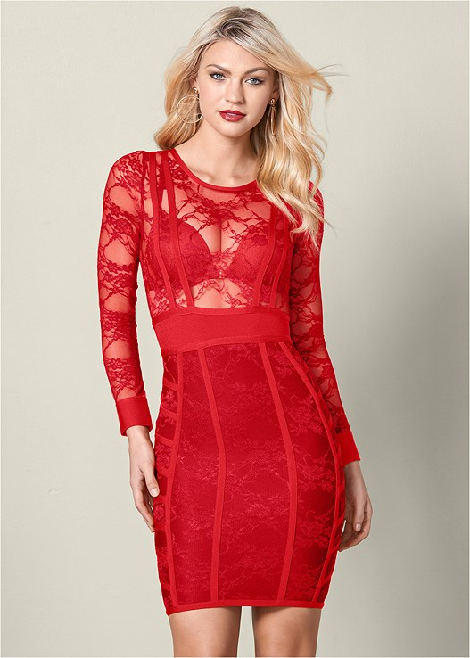 BANDAGE LACE BODYCON DRESS,3 PK OF PETALS,KISSABLE STRAPPY BACK BRA,BUCKLE DETAIL STRAPPY HEELS