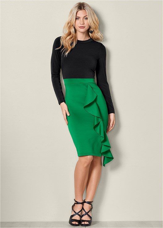 RUFFLE DETAIL BODYCON DRESS,STRAPPY PEEP TOE HEEL,BAUBLE HOOP EARRINGS