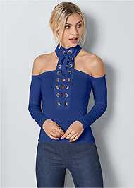 Front View Lace Up Detail Top