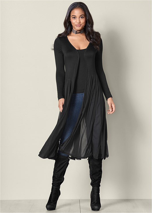 CHIFFON DETAIL DUSTER,SEAMLESS CAMI,COLOR SKINNY JEANS,TIE BACK BOOTS