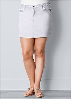 plus size color mini jean skirt