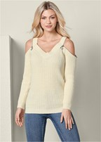 zipper cold shoulder sweater