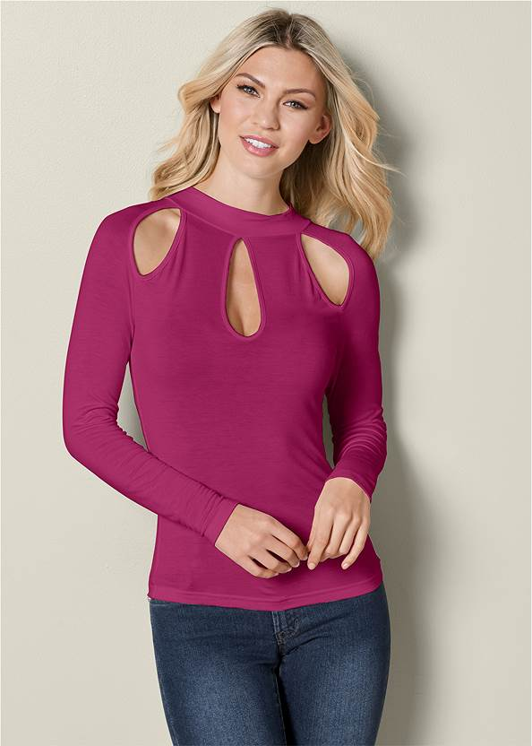 Cut Out Detail Top,Mid Rise Color Skinny Jeans