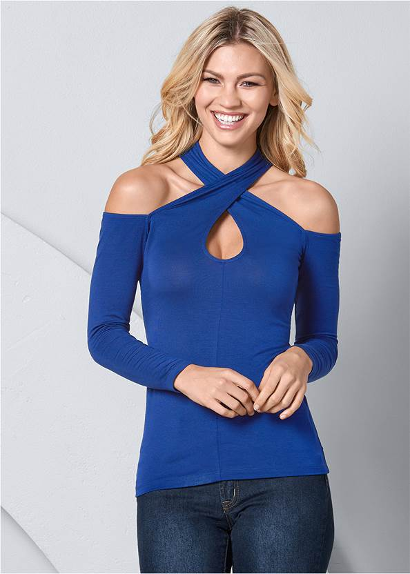Keyhole Cold Shoulder Top,Mid Rise Color Skinny Jeans,Wrap Stitch Detail Booties