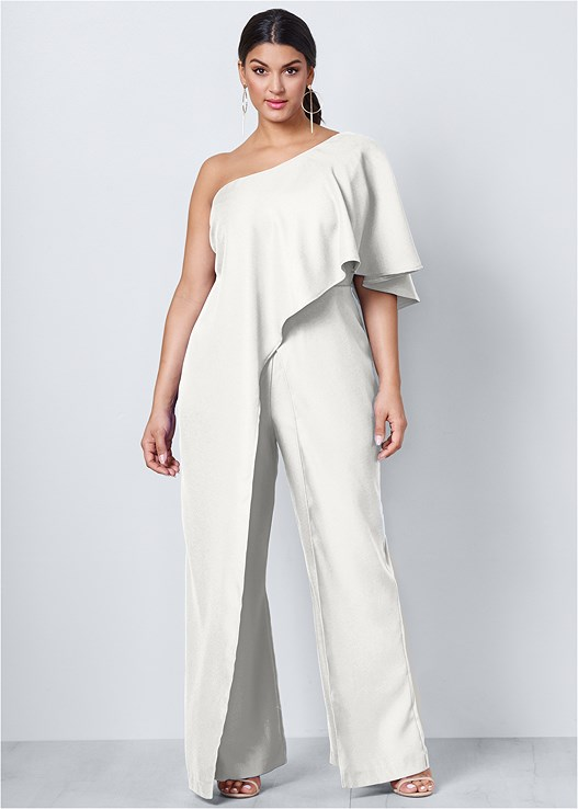 ONE SHOULDER JUMPSUIT,HIGH HEEL STRAPPY SANDALS