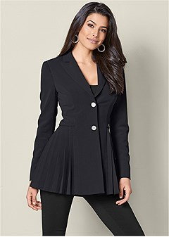pleat detail blazer