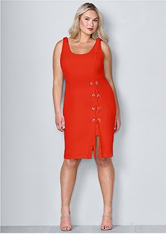 plus size lace up detail sleeveless dress