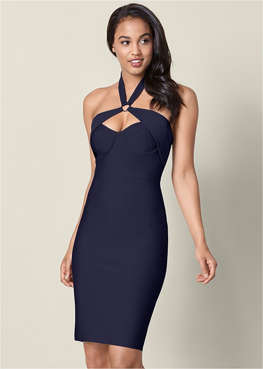 SLIMMING BODYCON DRESS,BUCKLE DETAIL STRAPPY HEEL,DOUBLE HOOP EARRINGS,RHINESTONE BANGLES