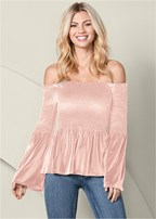 off the shoulder velvet top