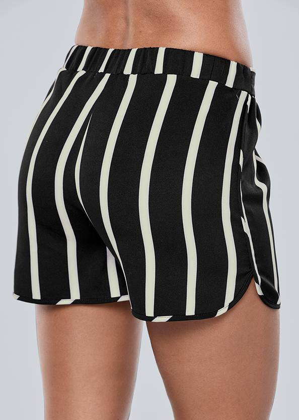Back view Belted Stripe Shorts