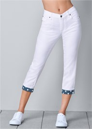 Front view Star Cuff Capri Jeans
