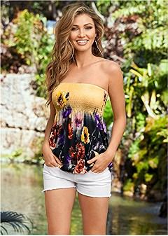floral print bandeau top
