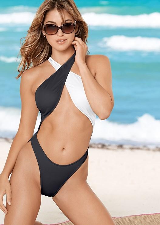 cc151b5bcf VINTAGE PRETZEL ONE-PIECE Swimsuit in Black   White