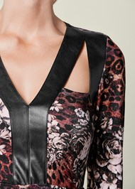 Alternate View Faux Leather Detail Top