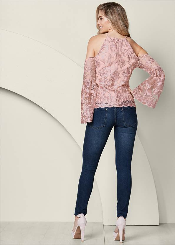 Back View Lace Bell Sleeve Top