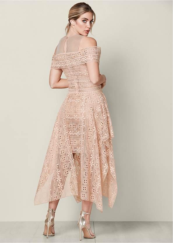 Back View Lace Up Detail Lace Dress