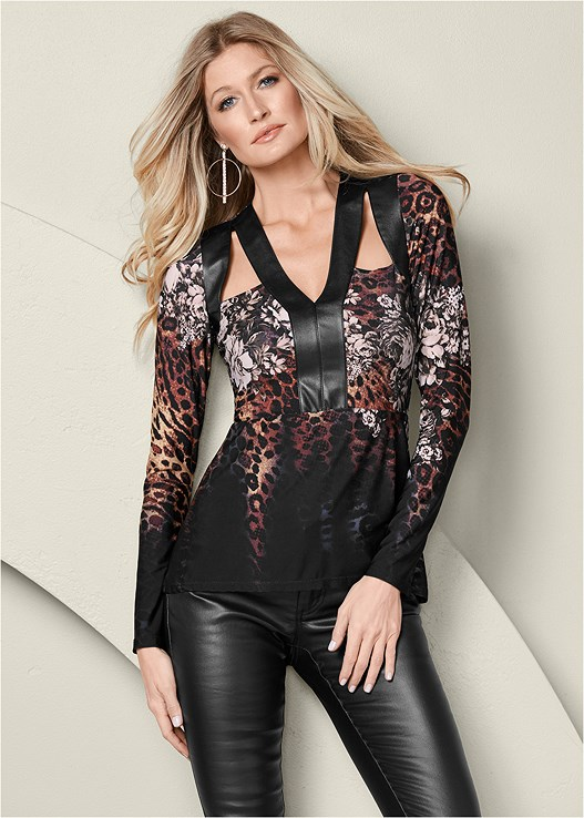 FAUX LEATHER DETAIL TOP,FAUX LEATHER PANTS,PERFORATED LACE UP HEEL,RHINESTONE HOOP EARRINGS