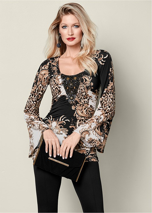 EMBELLISHED PRINT TOP,TIE BACK BOOTS,NATURAL BEAUTY LACE BANDEAU,BAUBLE HOOP EARRINGS