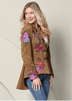 embroidered high low jacket
