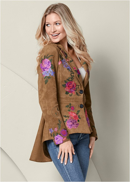 031adac735 EMBROIDERED HIGH LOW JACKET in Tan