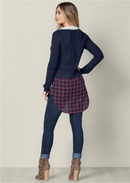 Back View Twofer Color Block Sweater