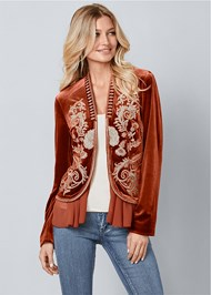 Front View Embroidered Velvet Jacket
