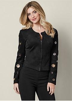 grommet detail jacket