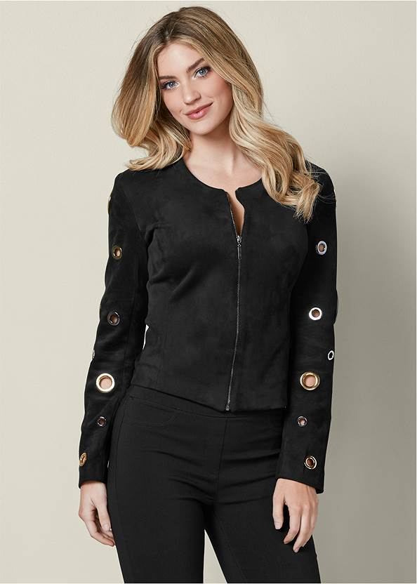 Grommet Detail Jacket,Mid Rise Slimming Stretch Jeggings