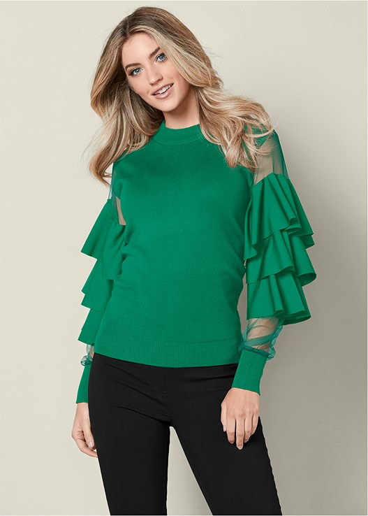 MESH AND RUFFLE SWEATER,SLIMMING STRETCH JEGGINGS