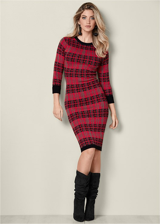 PLAID BODYCON SWEATER DRESS