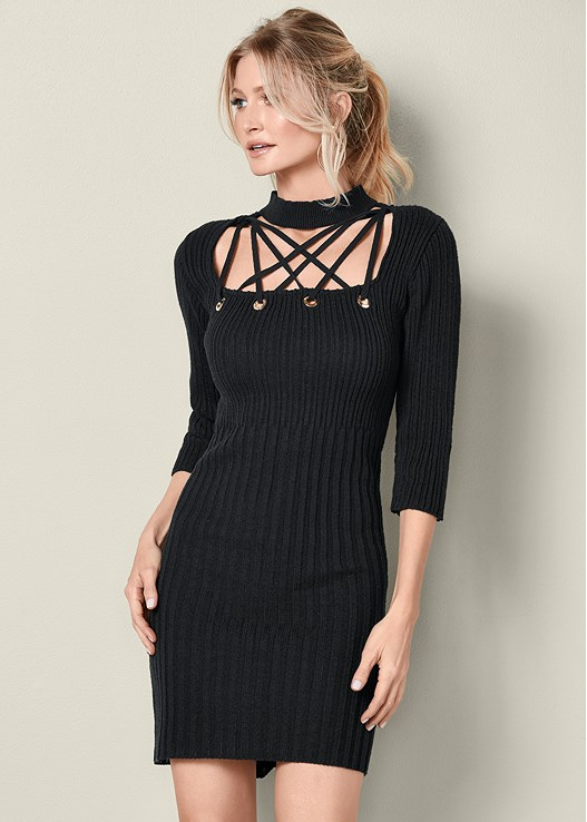 LACE UP SWEATER DRESS,TIE BACK BOOT