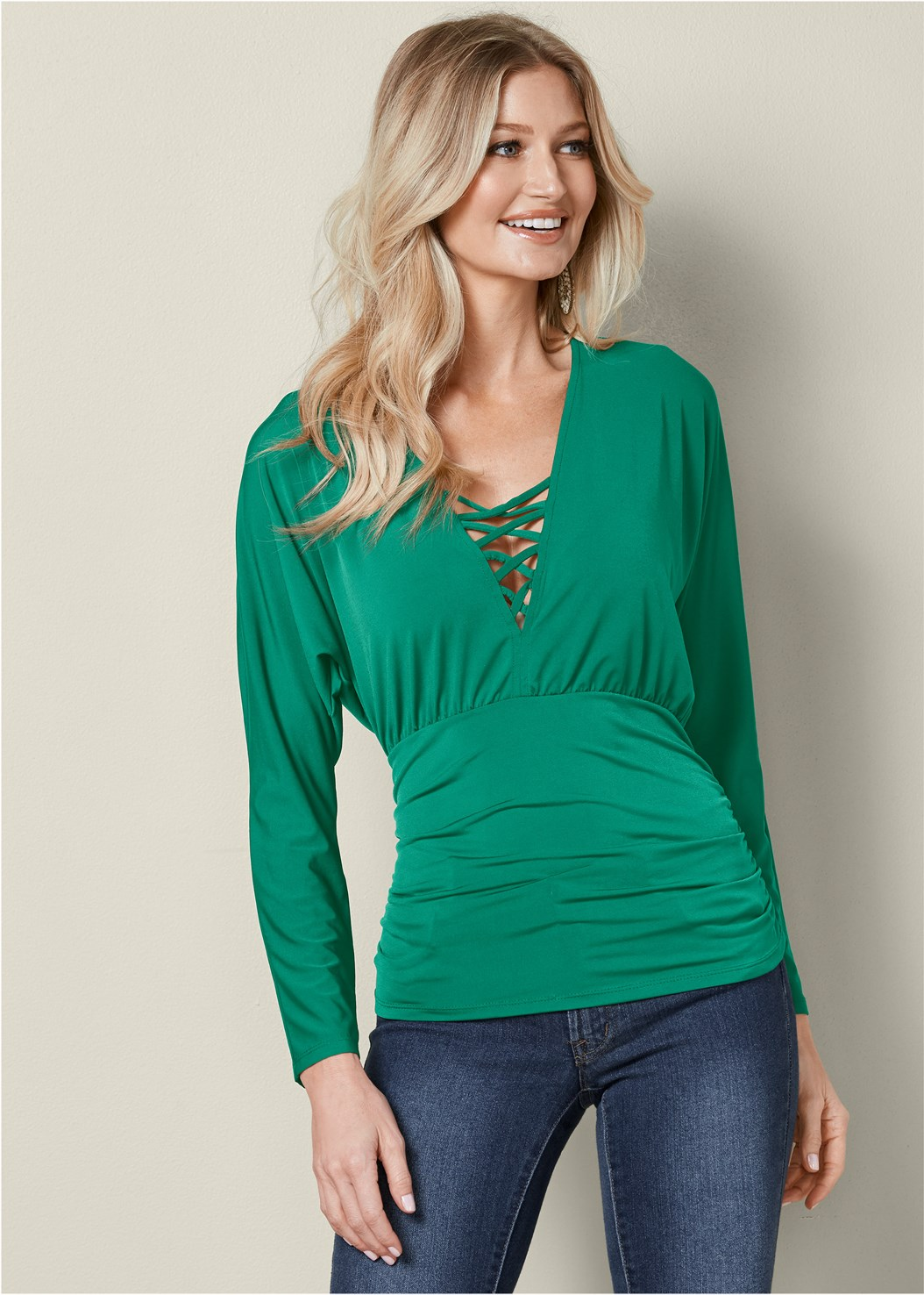 Strappy Detail Ruched Top,Mid Rise Color Skinny Jeans,Lace Up Tall Boots,Beaded Drop Earrings