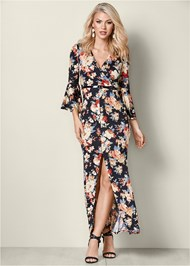 Front View Bell Sleeve Floral Dress