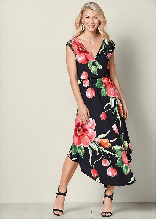 FLORAL DRESS,RAFFIA DETAIL HEEL