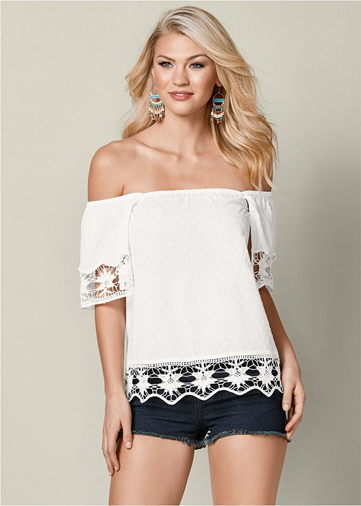 EYELET TRIM BLOUSE,CUT OFF JEAN SHORTS,TIE BACK WEDGE