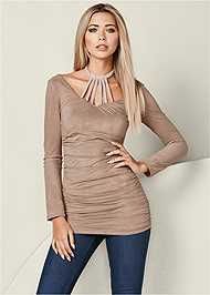 Front View Faux Suede Tunic
