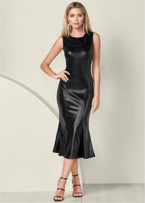 Front View Faux Leather Midi Dress