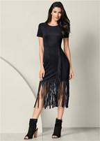 faux suede fringe dress