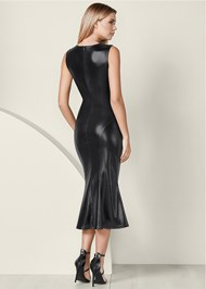 Back View Faux Leather Midi Dress