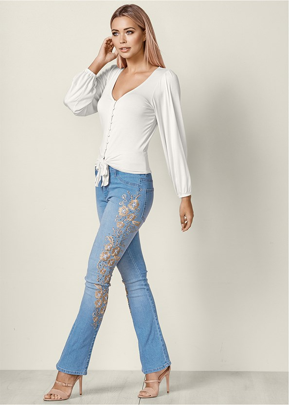 Embroidered Bootcut Jeans,Tie Front Button Up Top